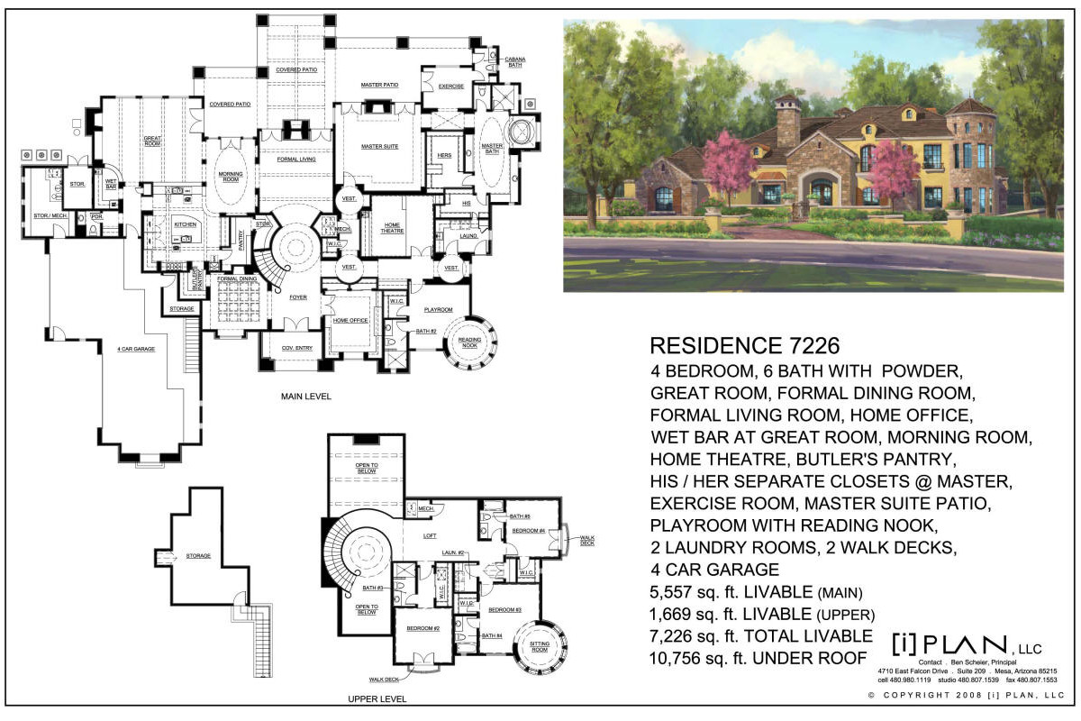 Floor plans 5 001 sq ft to 7 500 sq ft for 7000 sq ft house plans