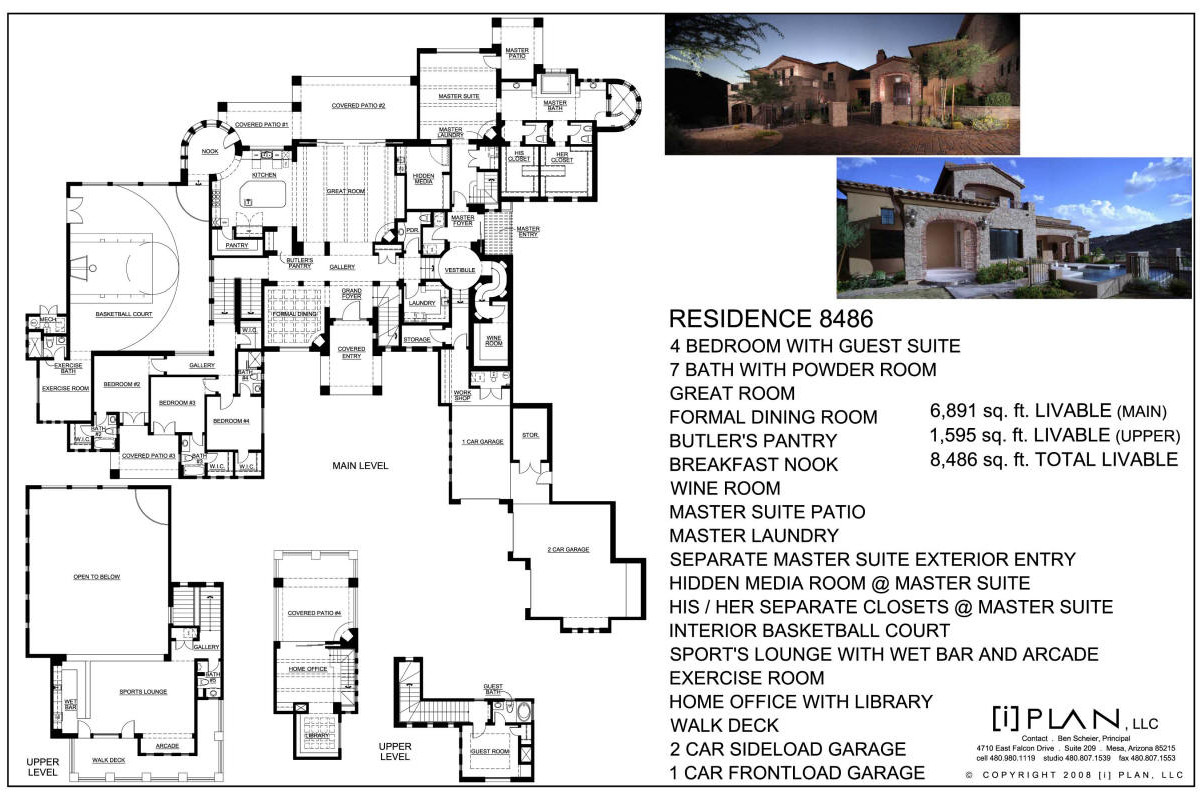 Floor plans 7 501 sq ft to 10 000 sq ft for Modern house plans 5000 square feet